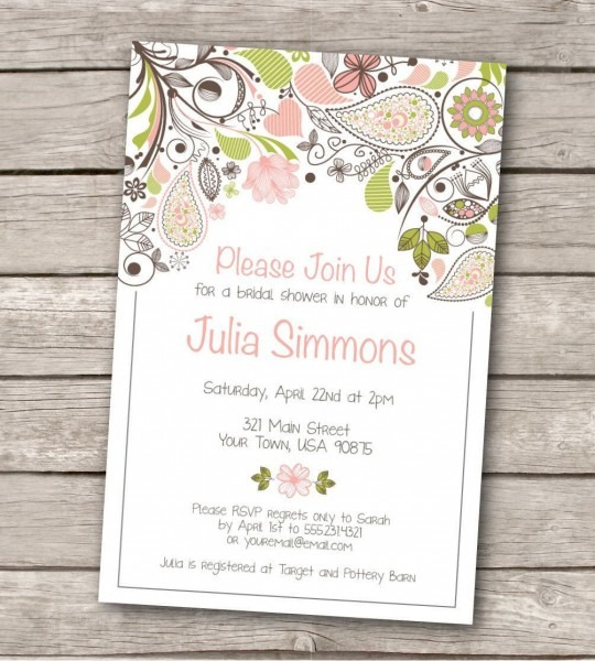 Free Printable Bridal Shower Invitations Templates Unique