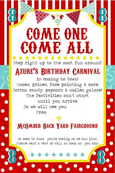 Free Printable Carnival Party Invitation Template Trend Carnival