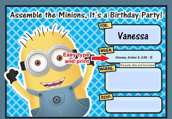 Minion Unique Minions Birthday Invitations Free Online