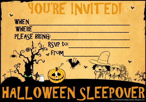 Free Printable Halloween Sleepover Invitations