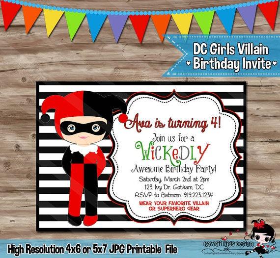 Free Printable Harley Quinn Birthday Invitations Il X Slo Cute