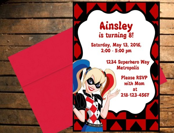 Free Printable Harley Quinn Birthday Invitations Il Fullxfull Smr