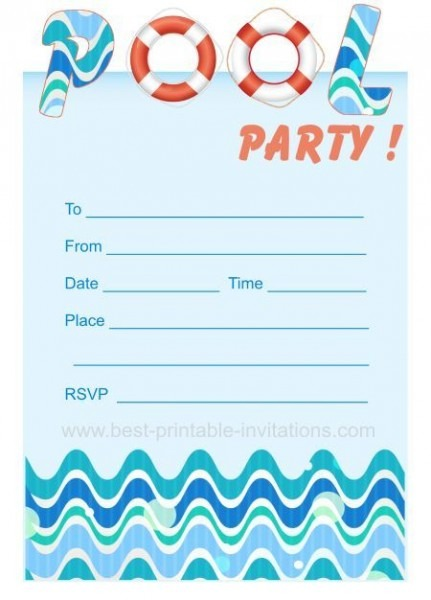 Free Printable Pool Party Birthday Invitations New With Free