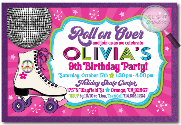 R Simple Free Printable Roller Skating Birthday Party Invitations
