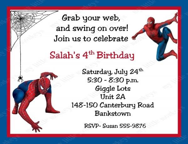 Invitation  Spiderman Birthday Invitation Template