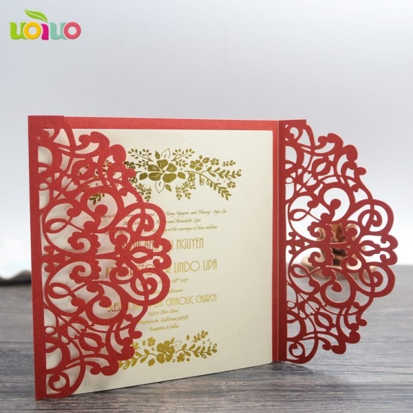Free Shipping Red Bengali Wedding Invitation Card Arabic Wedding
