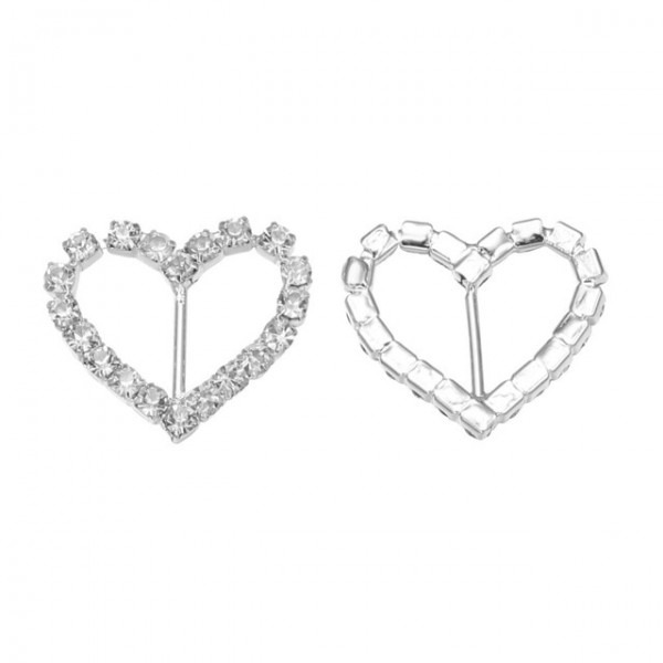 Free Shipping Wholesale 21 15mm Heart Crystal Rhinestone Buckle