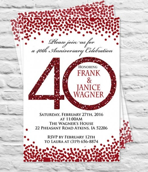 Th Anniversary Invit Awesome 40th Anniversary Party Invitations