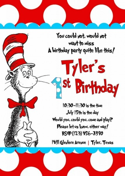 Fresh Cat In The Hat Birthday Invitations 94 For Your Invitations