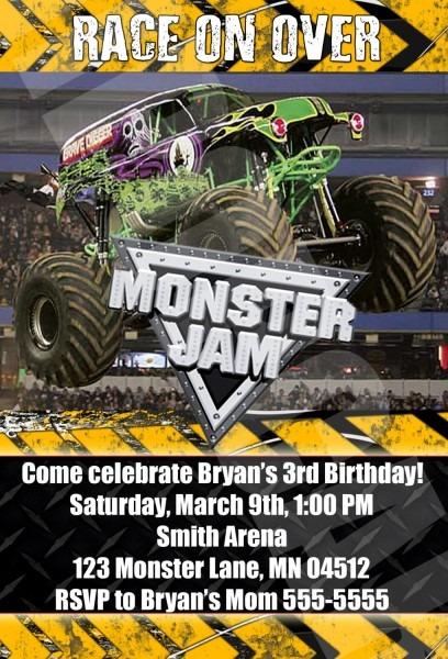 Fresh Monster Jam Birthday Invitations 55 For Your Invitation