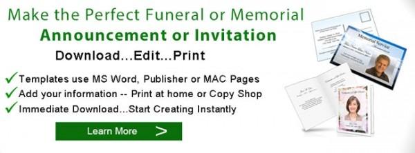 Funeral Announcements Memorial Announcement Template  124855650142