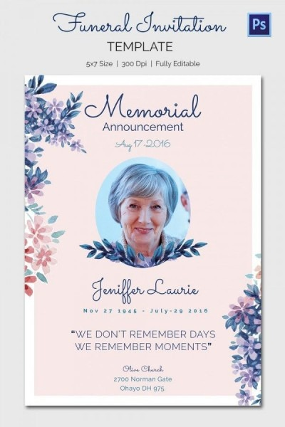 Funeral Invitation Cards Free Funeral Announcement Template Free