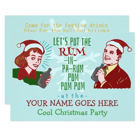 Vintage Festive Santa Holiday Party Invitation Big Rounded Trend
