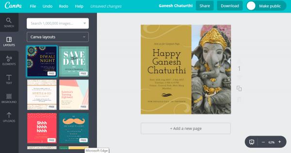 Design Ganesh Chaturthi Invitation Cards For Free