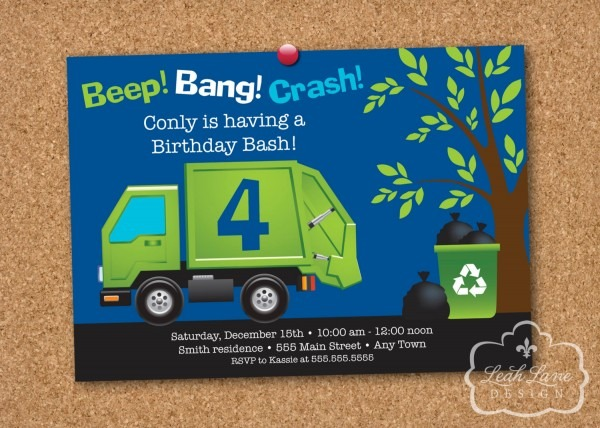 28 Garbage Truck Birthday Invitations, Garbage Truck Birthday
