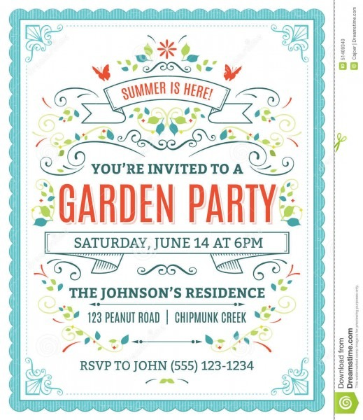 Garden Party Invitation Stock Vector  Illustration Of Space
