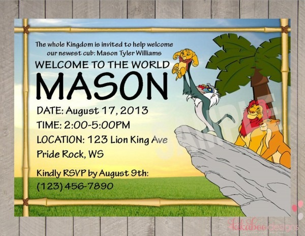 Generous Baby Shower Invitations Lion King Invi Jungle Invitation