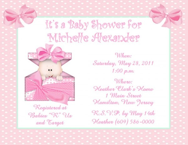 Girl Baby Shower Invitations Girl Baby Shower Invitations With The