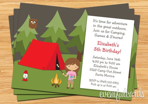 Camping Birthday Party Good Camping Party Invitations