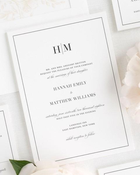 Glam Monogram Wedding Invitations