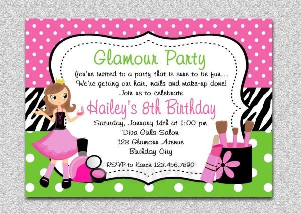 Glamour Girl Birthday Spa New Girls Birthday Party Invitations