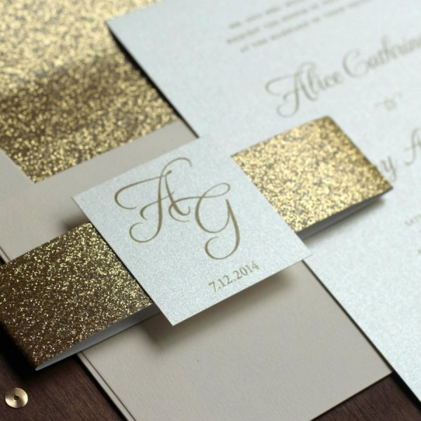 Glitter Wedding Invitation, Gold And Blush Invite, Belly Band