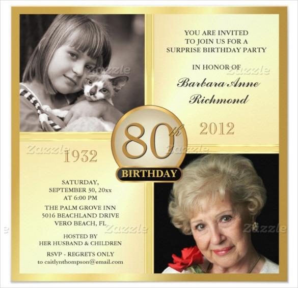 Invitation Template  80th Birthday Invitation Templates