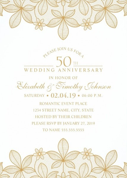 Golden Lace 50th Wedding Anniversary Invitations