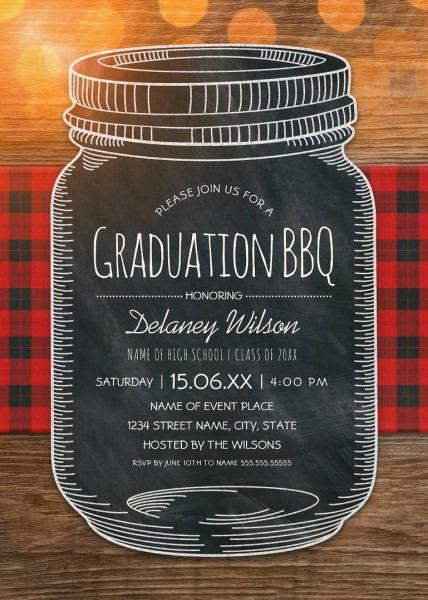 Graduation Bbq Invitations Chalkboard Mason Jar Graduation Party