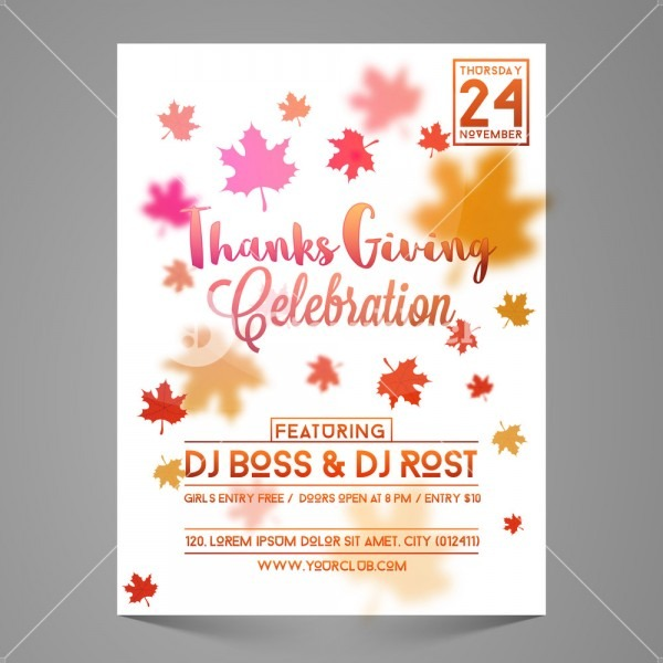 Autumn Leaves Decorated Invitation Card For Thanksgiving Day Party