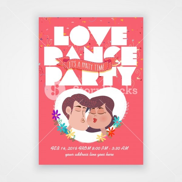 Beautiful Invitation Card Design With Cute Couple For Dance Party