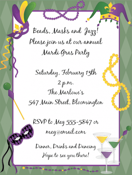 Mardi Gras Birthday Party Invitation Superb Mardi Gras Birthday