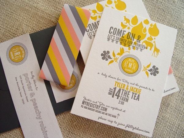 Jackie + Tyler's Gray And Gold Baby Shower Invitations