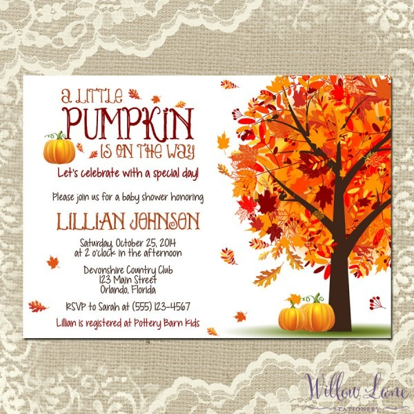 Great Autumn Baby Shower Invitations 86 For Invitations Templates