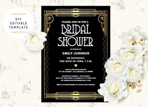 Great Gatsby Bridal Shower Invitations Invitation Template Diy