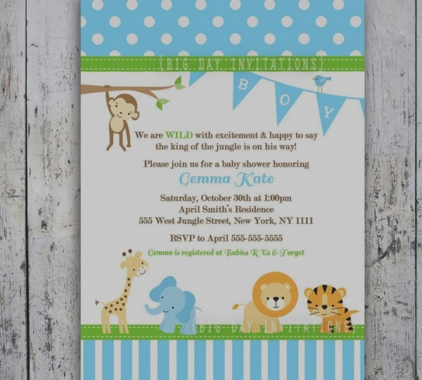 Trend Baby Shower Invitations Safari Animals Safari Jungle Baby