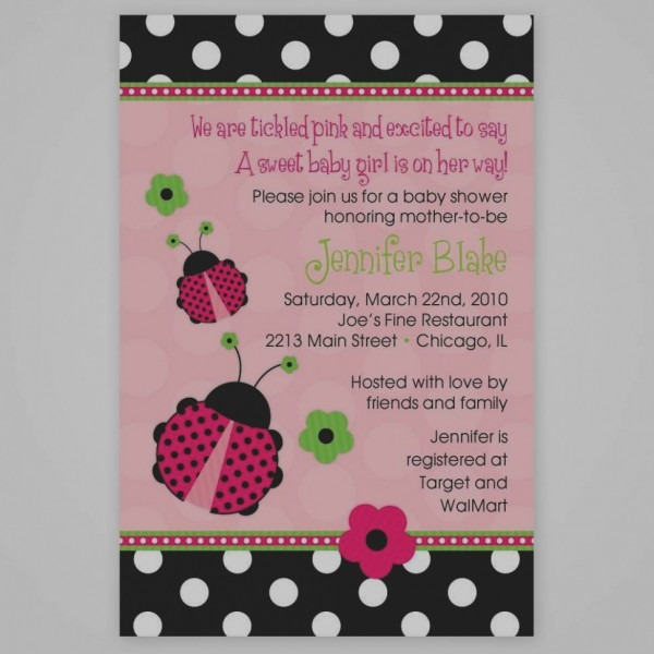 Great Of Pink Ladybug Baby Shower Invitations Pink Ladybug Baby