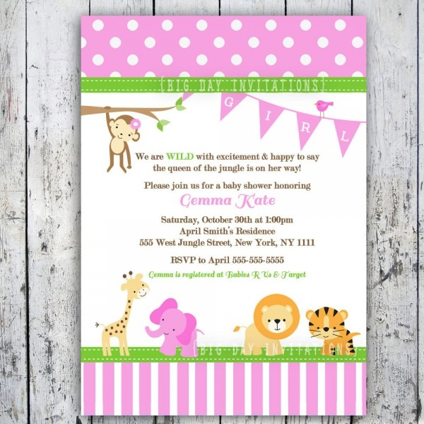 Great Pink Safari Baby Shower Invitations 77 In Invitations