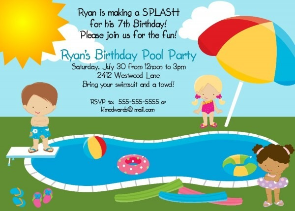 Great Pool Party Birthday Invitations 93 For Invitation Definition