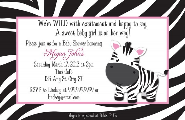 Great Zebra Print Baby Shower Invitations 87 About Remodel