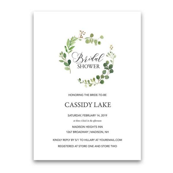 Greenery Bridal Shower Invitations Eucalyptus Wreath Modern