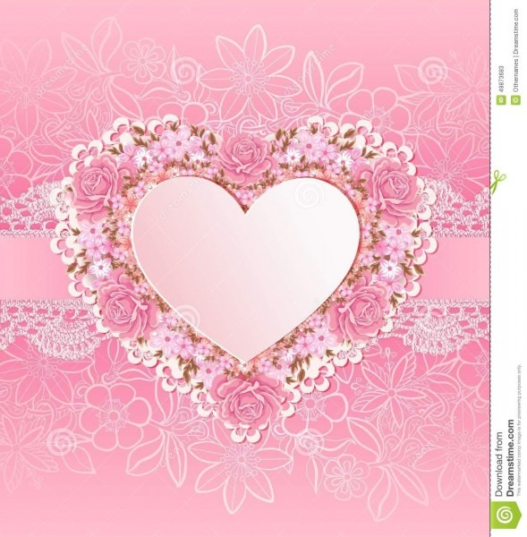 Greeting Card With Heart Shape  Flowers Stock Vector