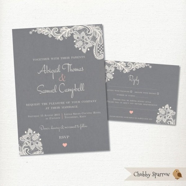 Grey Wedding Invitation, Rsvp Card Set Kit, Lace & Linen