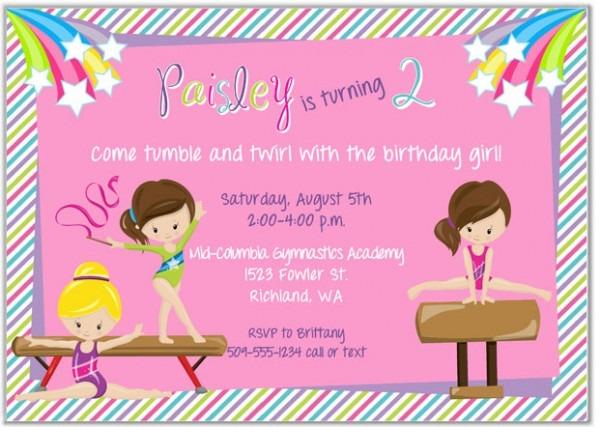 Gymnastics Birthday Party Invitat New Gymnastics Birthday Party