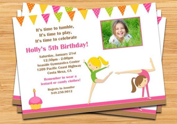 Gymnastics Birthday Party Invitations Gymnastics Birthday Party