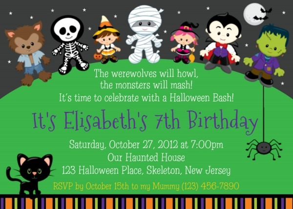 Hal Perfect Halloween Themed Birthday Party Invitations