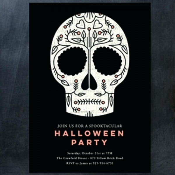 Halloween Party Invite Together With 1 Minted Sugar Skull Holiday