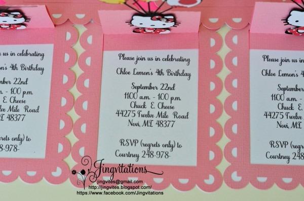 Jingvitations  Handmade Hello Kitty Candyland Invitations