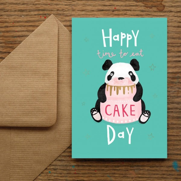 Happy Time Eat Cake Day Birthday Panda Card Nic Allan Original