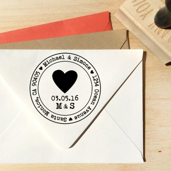 Heart Address Stamp For Save The Dates & Wedding Invitations With